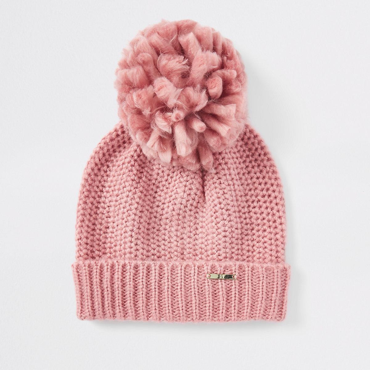 Pink turn-up hem knit beanie hat