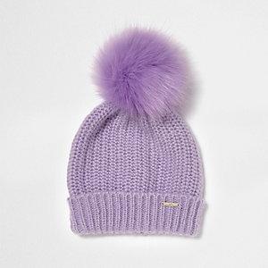 Lilac faux fur bobble pom pom beanie hat