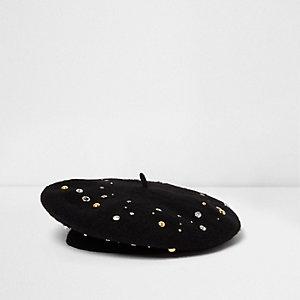 Black stud embellished wool beret