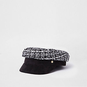 Black boucle baker boy hat
