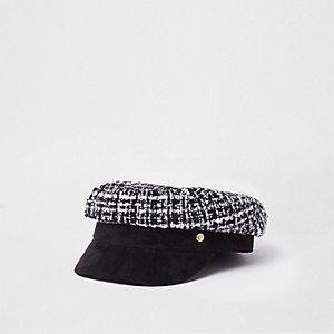 Black boucle baker boy hat