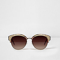 Brown tortoiseshell and gold tone sunglasses
