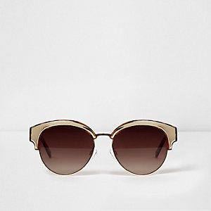 Bruine goudkleurige zonnebril met schildpadmotief
