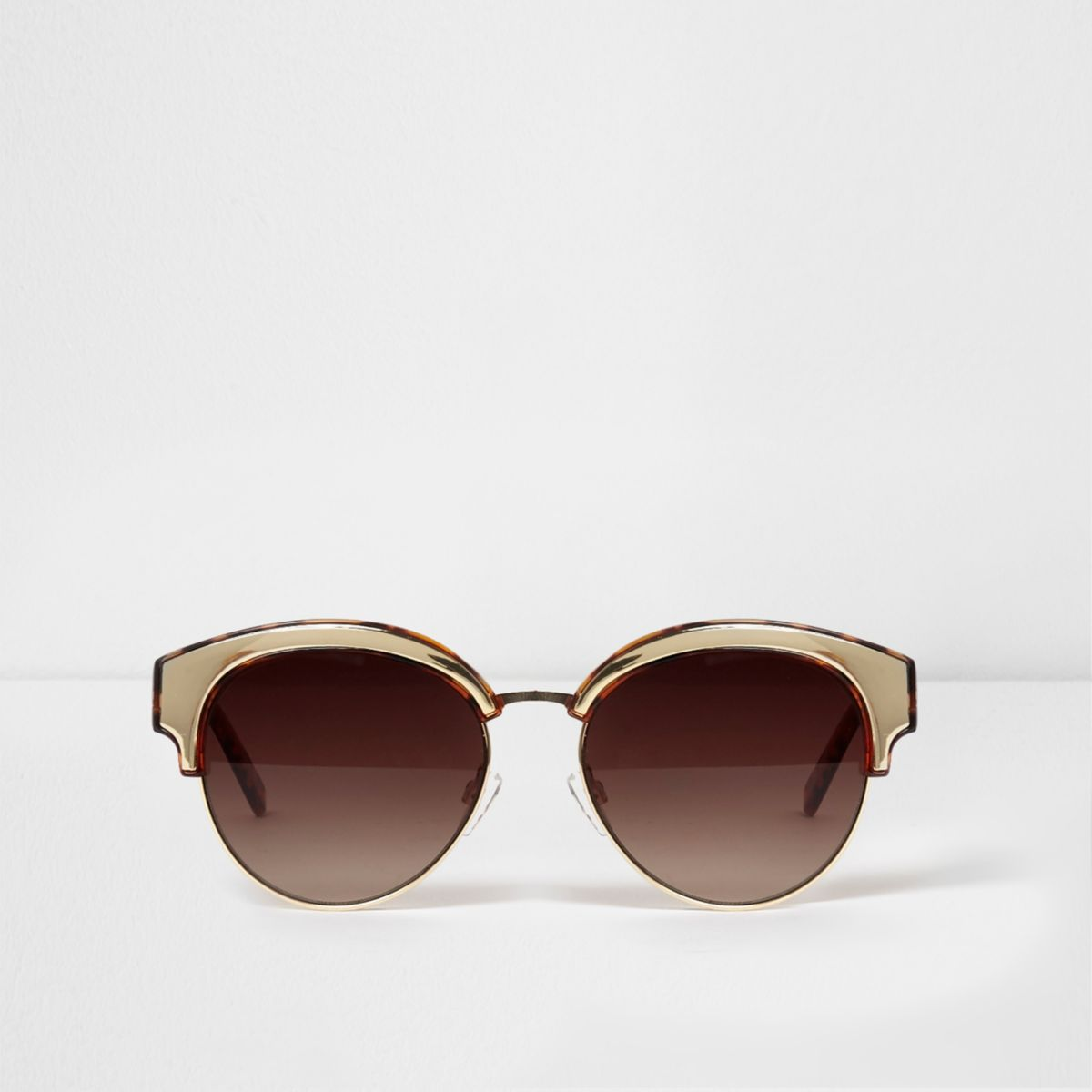 Brown tortoiseshell and gold tone sunglasses