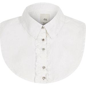 White ruffle front collar bib