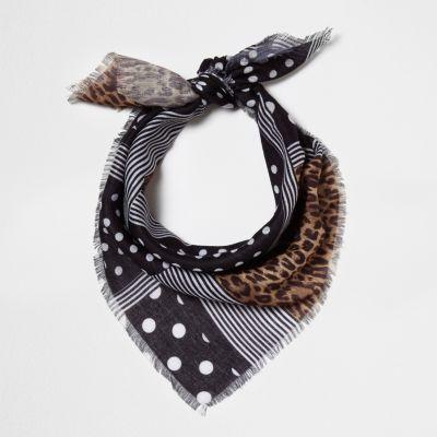 River Island Foulard de tête à imprimé léopard à pois noir