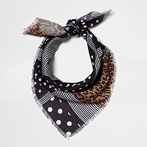 Black polka dot leopard print head scarf
