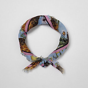 Blue tropical print head scarf