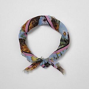 Blue tropical print head scarf