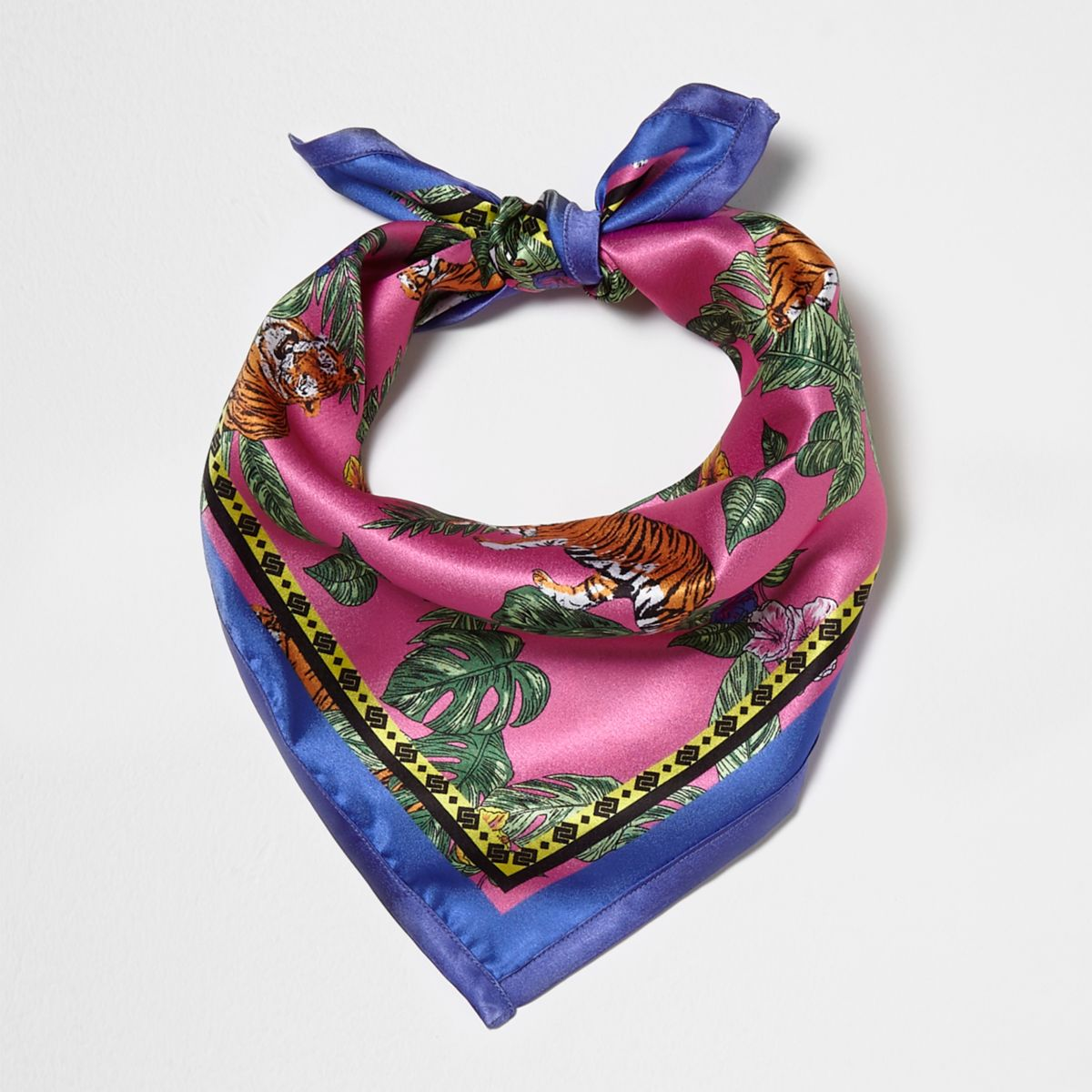 Pink tropical tiger print scarf