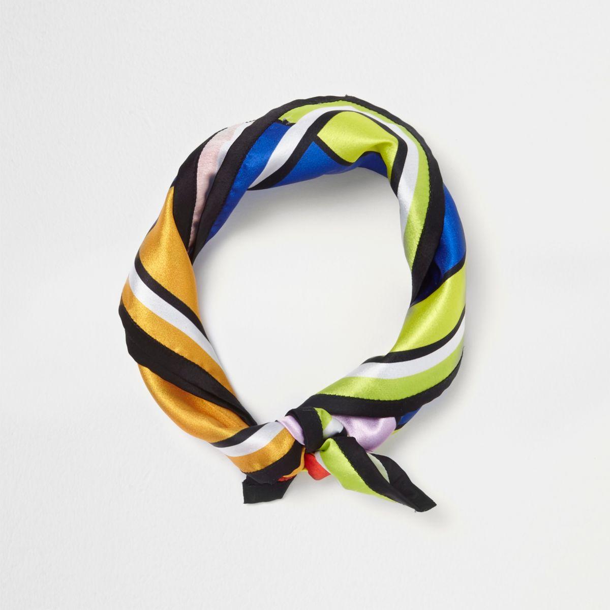 Orange colour block scarf