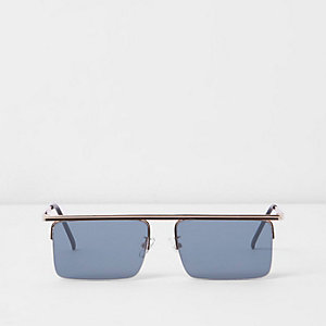 Gold tone smoke lens square visor sunglasses