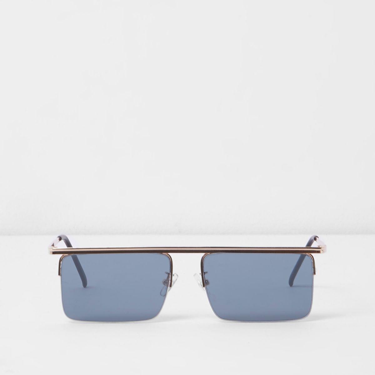 Gold tone smoke lens square visor sunglasses