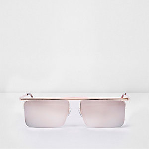 Gold tone mirror lens square visor sunglasses