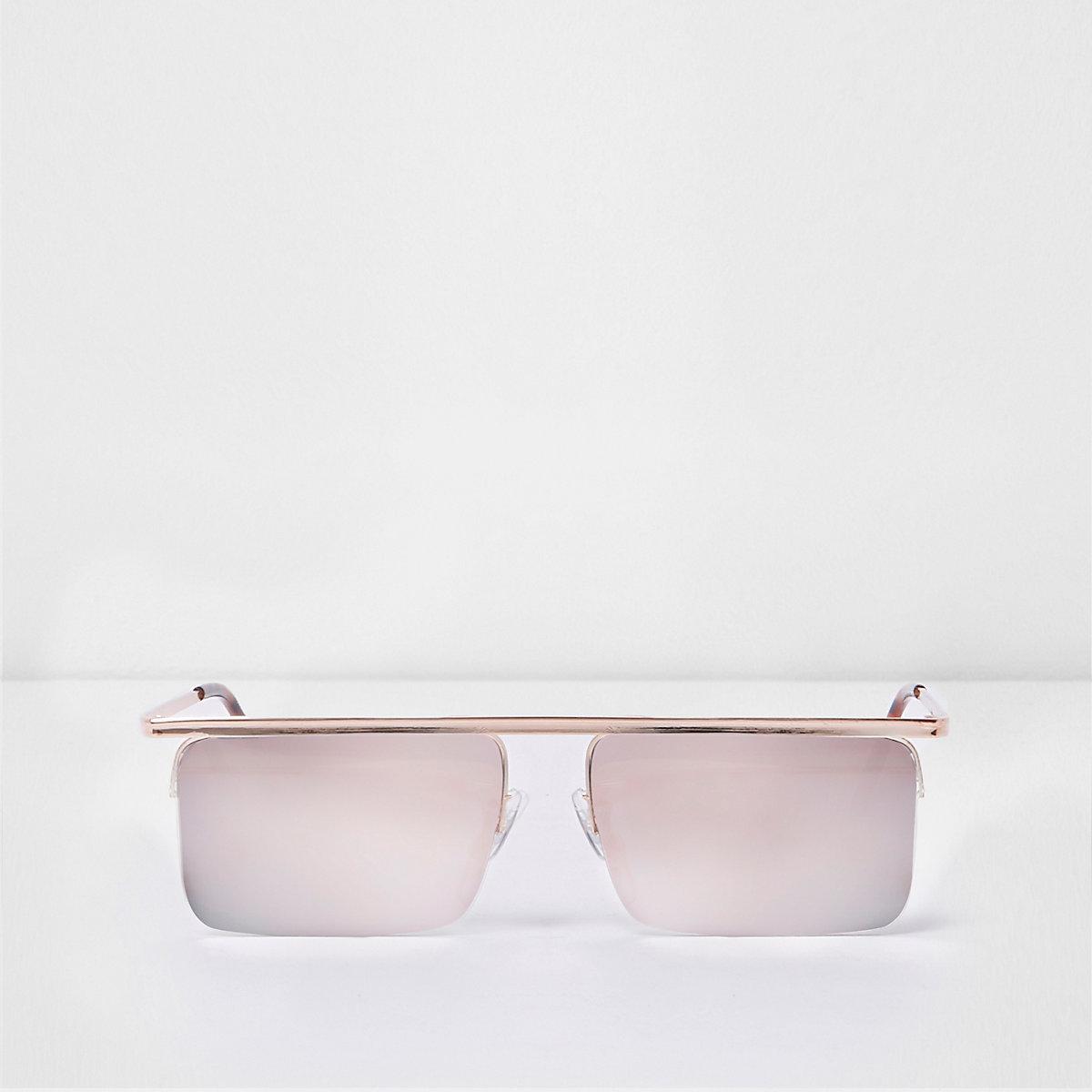 Gold tone mirror lens square visor sunglasses