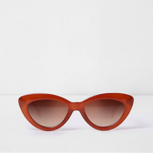 Dark orange cat eye tinted lens sunglasses