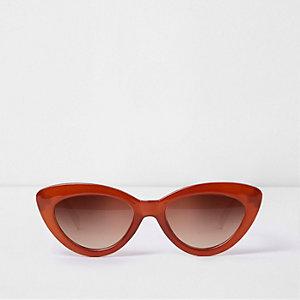 Cateye-Sonnenbrille in Dunkelorange mit getönten Gläsern