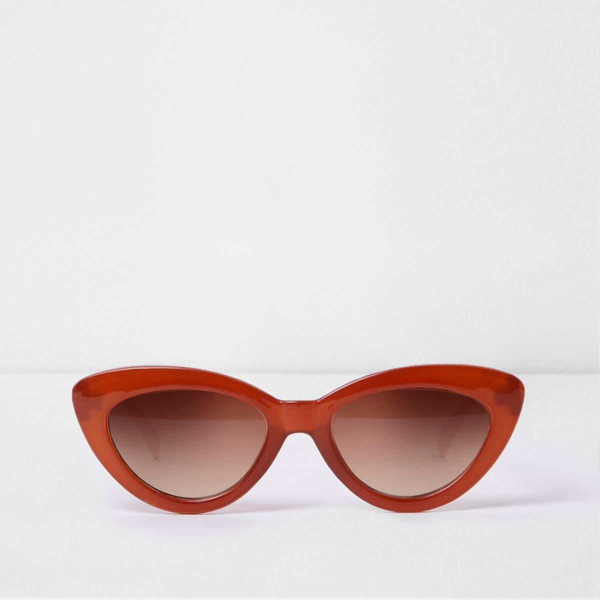Dark orange cat eye tinted lens sunglasses