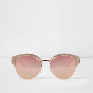 Rose gold tone mirror lens sunglasses