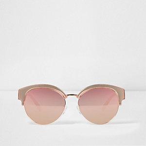 Roségoudkleurige zonnebril met spiegelglazen