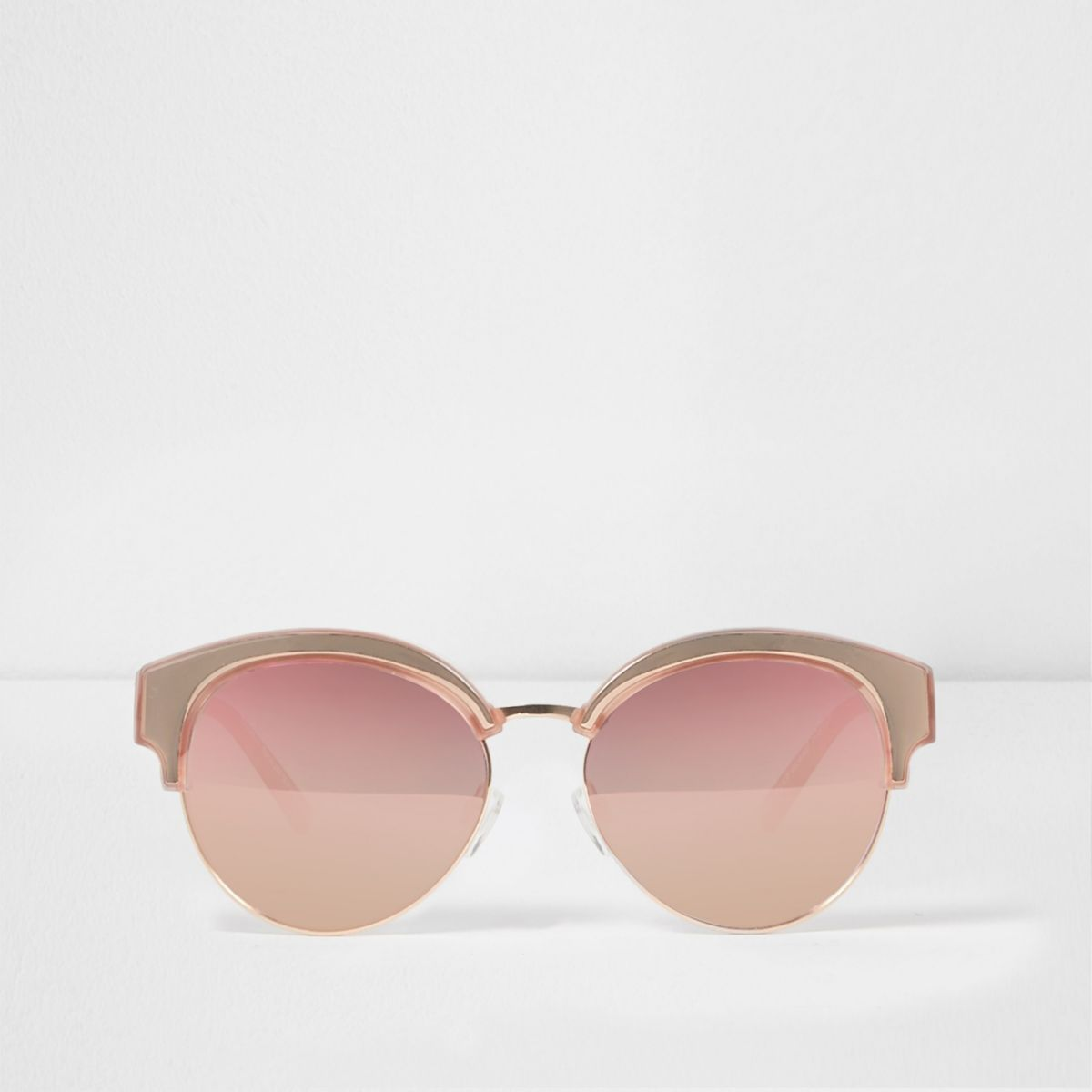 Rose gold tone mirror lens sunglasses