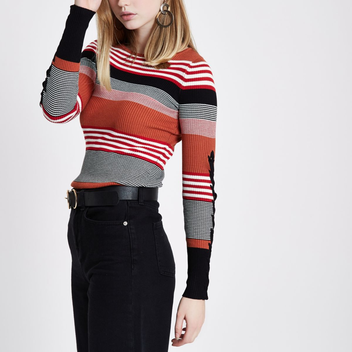Brown stripe lace-up sleeve knitted top