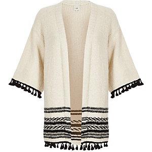 Cardigan crème à ourlet frangé et manches kimono