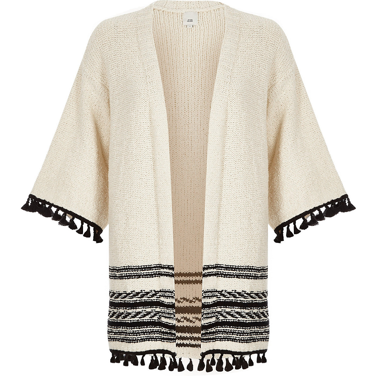 Cream tassel hem kimono sleeve cardigan