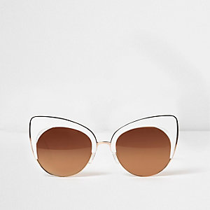 White gold tone cat eye sunglasses
