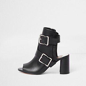 Black multi buckle block heel shoe boots