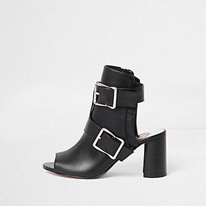 Black multi buckle block heel shoe boots