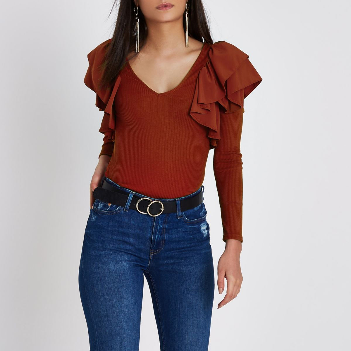 Red frill V neck fitted ribbed top