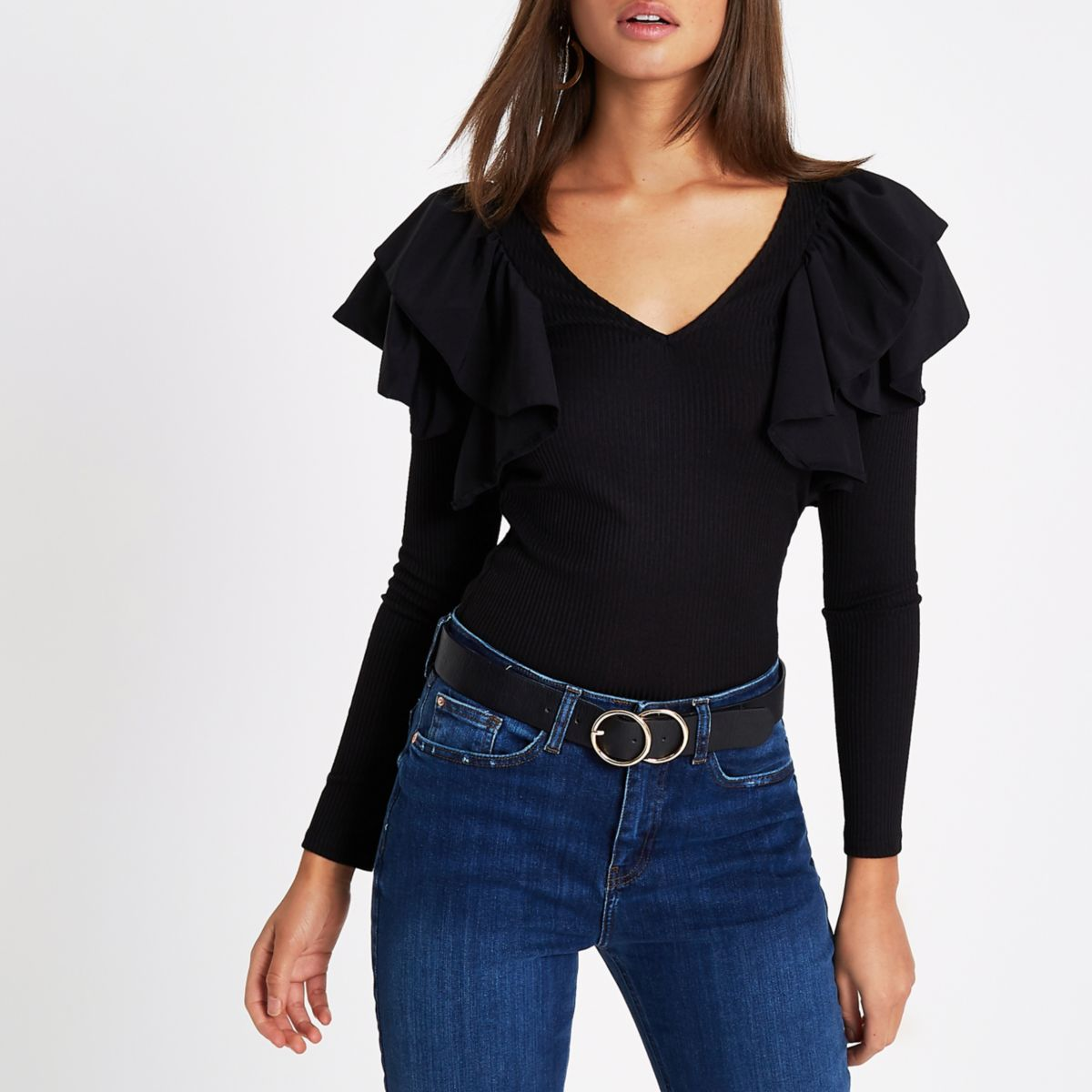 Black rib poplin frill long sleeve top