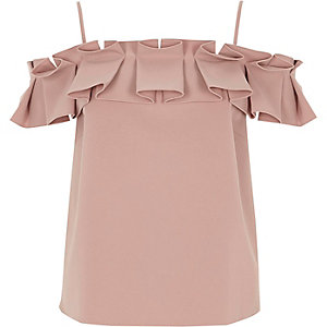 Light pink structured ruffle cami top