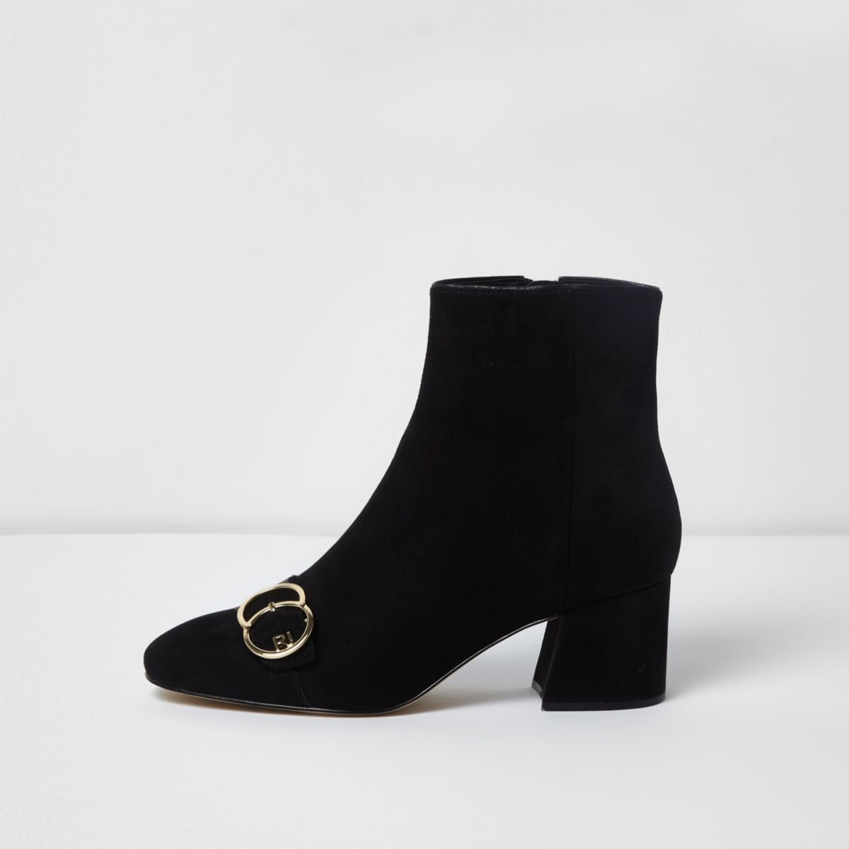 Black ring buckle block heel ankle boots