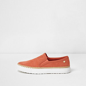 Orange faux suede espadrille trim plimsolls