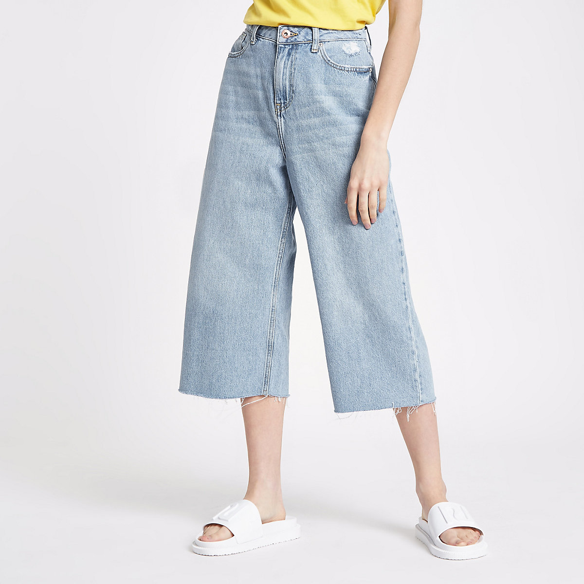 Petite light blue Alexa cropped wide leg jean
