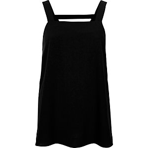 Black wide strap tank top
