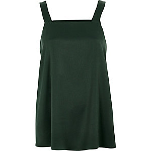 Dark green wide strap tank