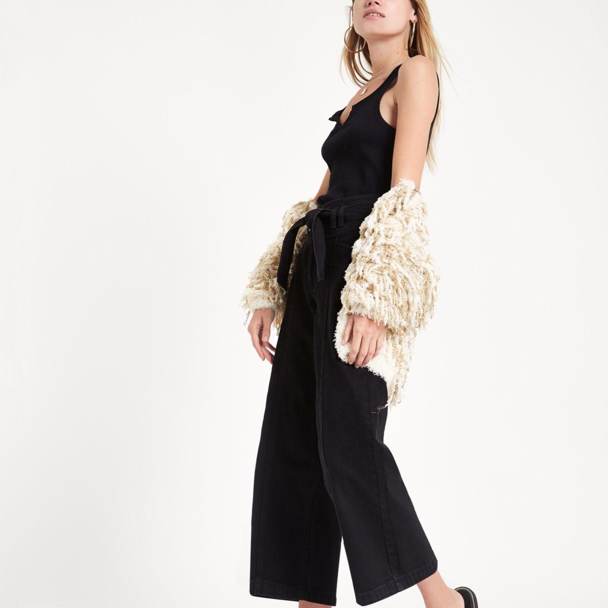Jupe-culotte en jean noire à ceinture