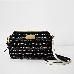 Black boucle cross body bag