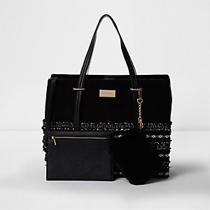 Black boucle woven panel tote bag