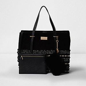 Schwarze Tote Bag mit Webeinsatz