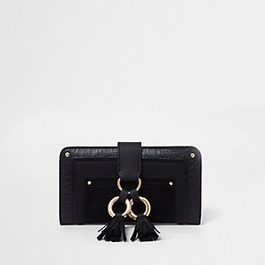 Black double hoop tassel tab folded purse