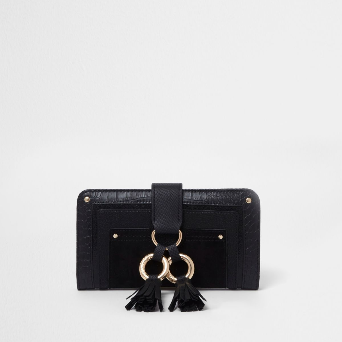 Black double hoop tassel tab folded purse