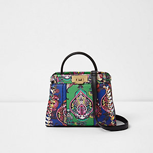 Green baroque print mini tote bag