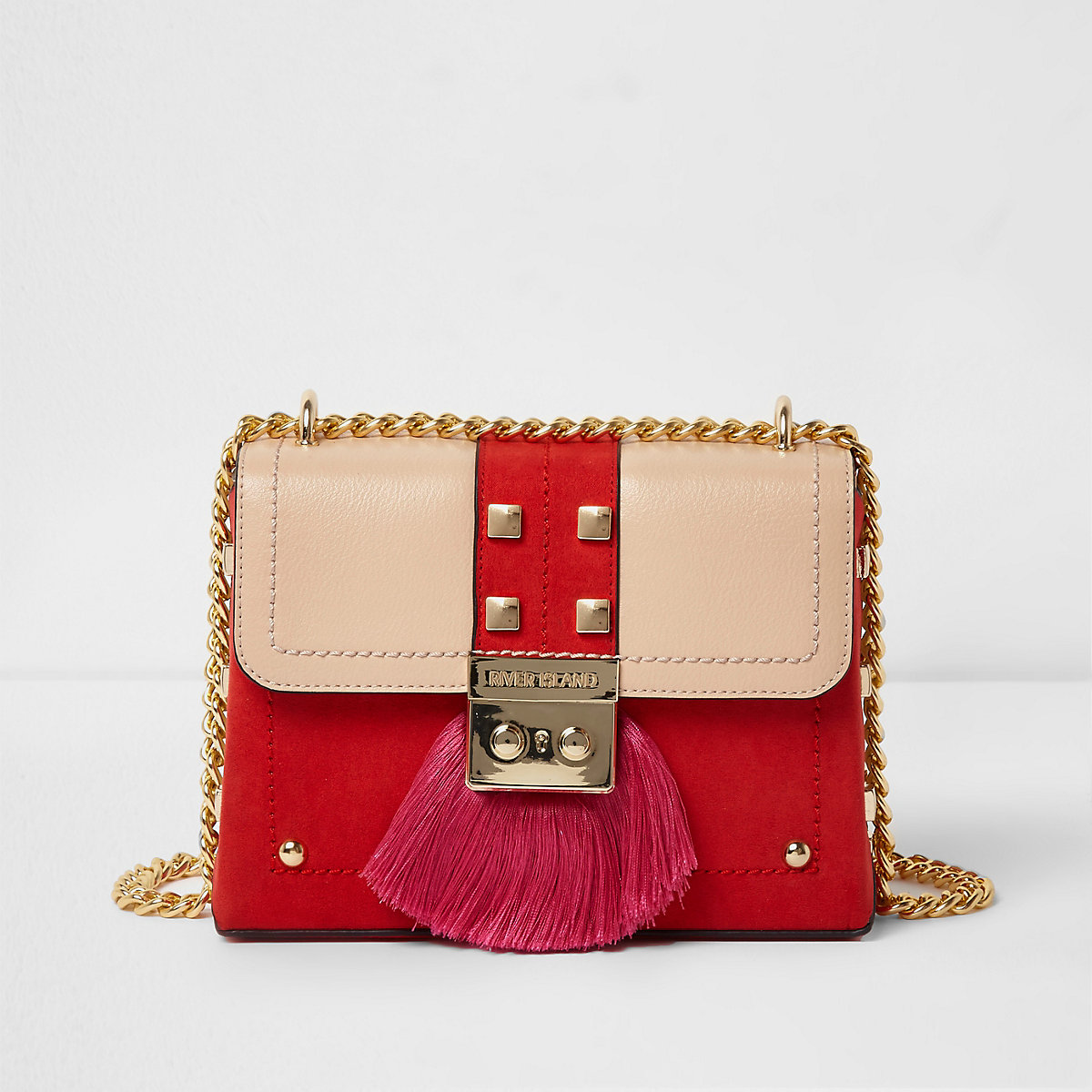 Red fringe lock small cross body chain bag