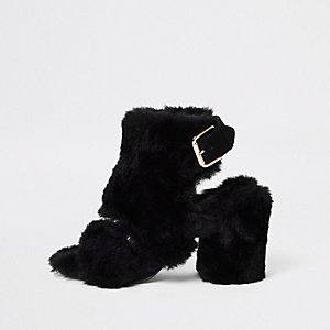 Black faux fur block heel shoe boots
