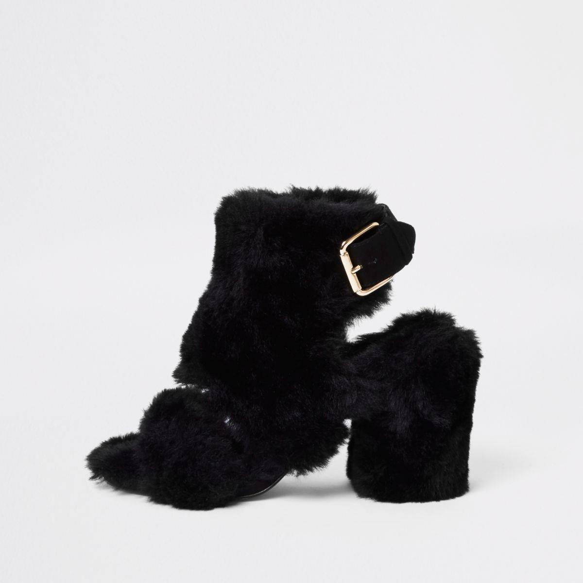 Black faux fur block heel shoe boots