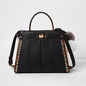 Black stitch side cross body tote bag